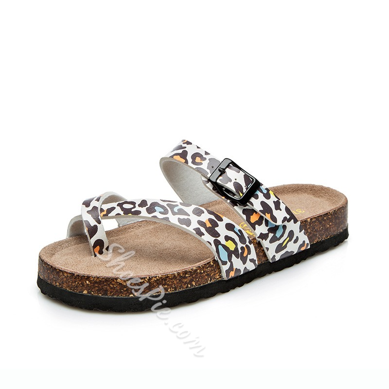 Shoespie Clip Toe Leopard Casual Buckle Slippers