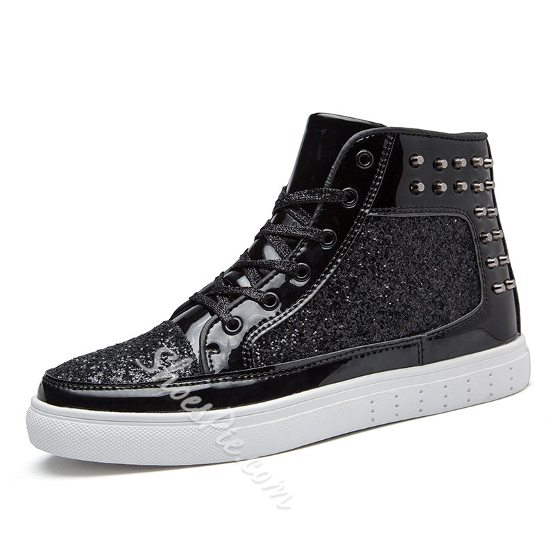 Shoespie Rivet Lace-Up Thread Men's Sneakers