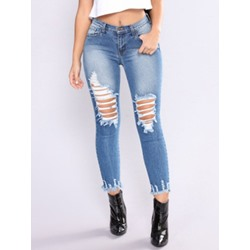 Pencil Pants Tassel Plain Skinny Women's Jeans