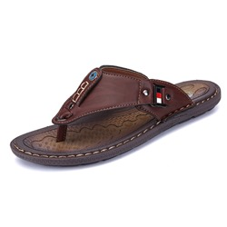 Shoespie Summer Plain PU Thong Men's Slippers