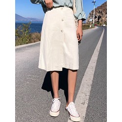 Button A-Line Plain Japanese Women's Skirt
