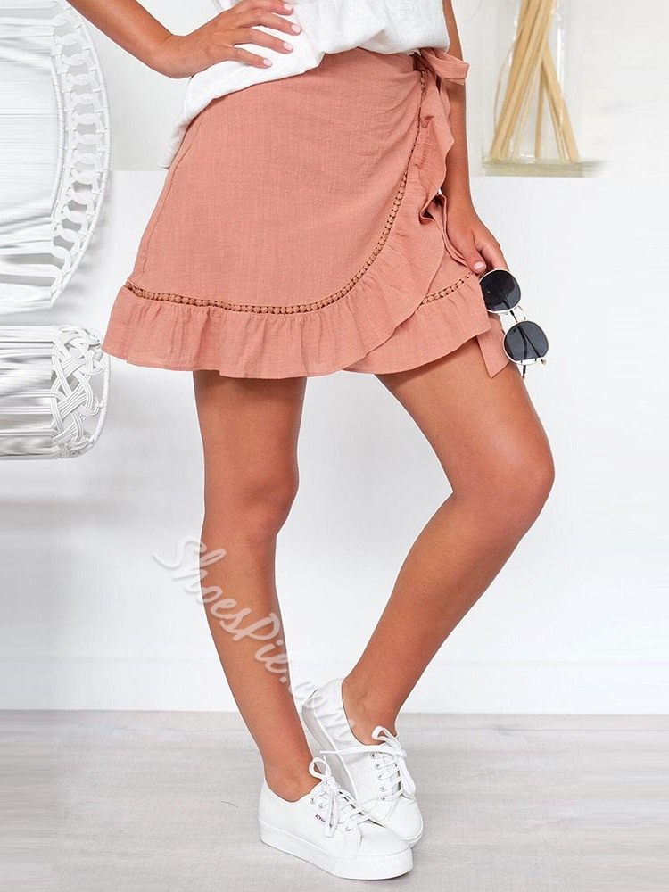 A-Line Stringy Selvedge Plain Casual Women's Skirt