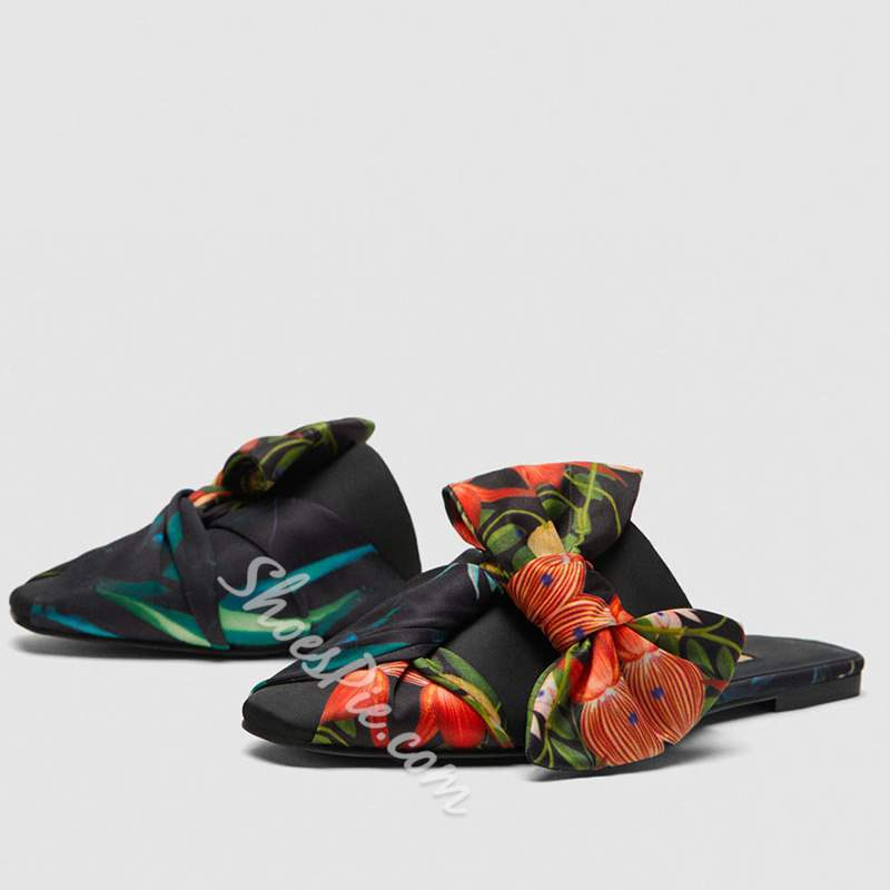Shoespie Flower Print Backless Bowknot Sandals