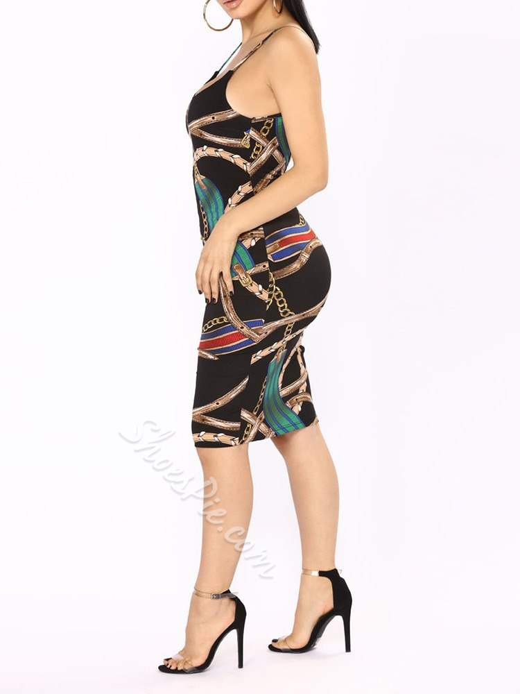 Knee-Length Print Polyester Casual Women's Bodycon Dress