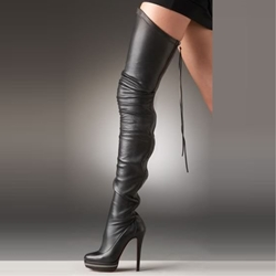 Shoespie Stylish Black Pointed Toe Stiletto Heel Back Zip Platform Boots