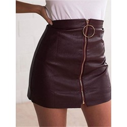 Zipper Plain Mini Skirt Fashion Women's Skirt