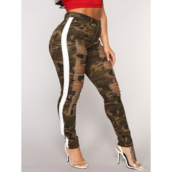 Pencil Pants Hole Camouflage Mid Waist Women's Jeans