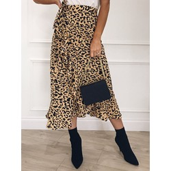 Asymmetrical Leopard Mid-Calf Casual Women's Skirt