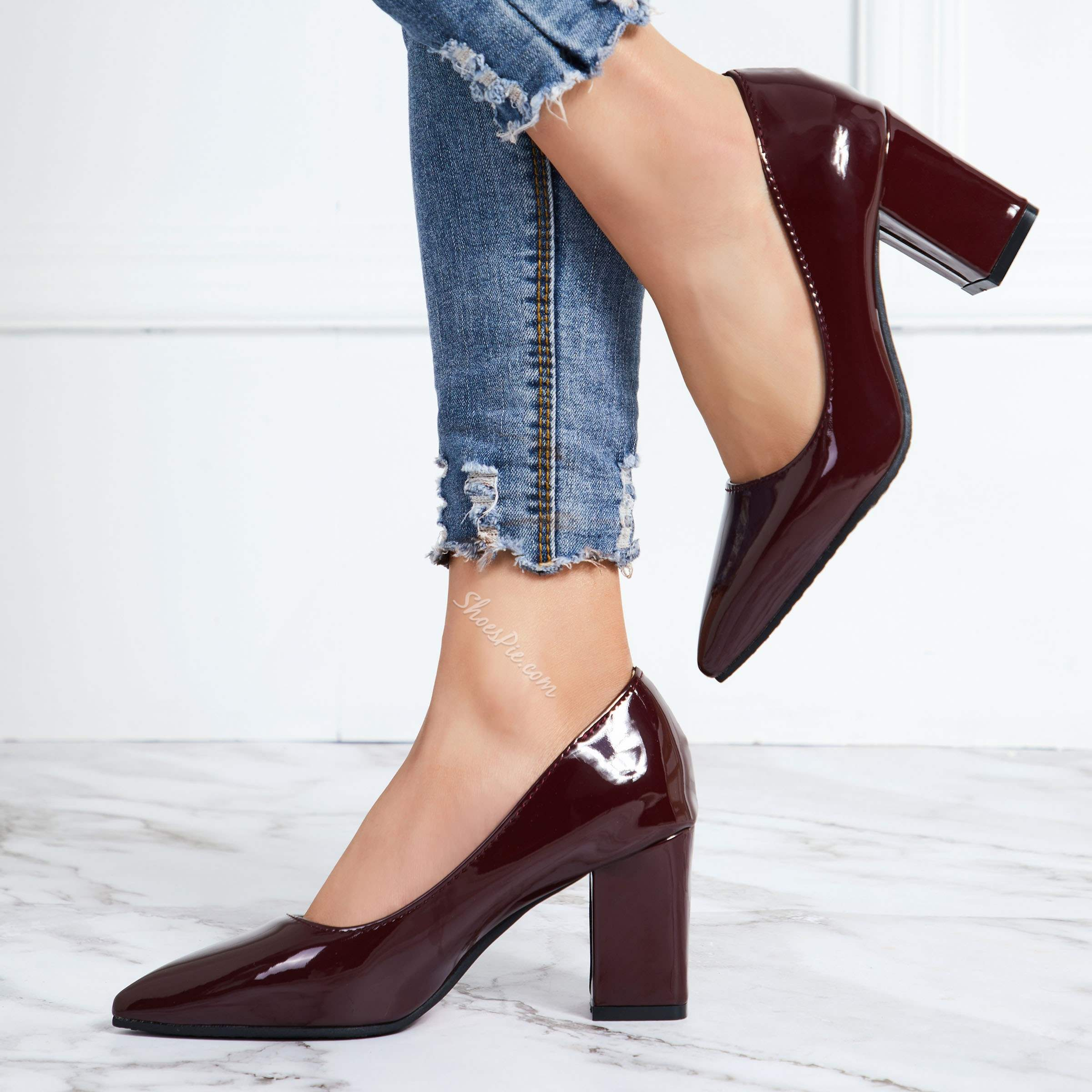 Shoespie Sexy Thread Chunky Heel Slip-On Plain Shoes