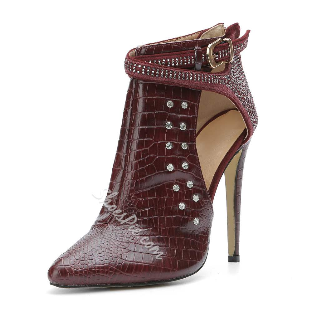 Red Rivets Buckle Fashion Stiletto Heel Booties