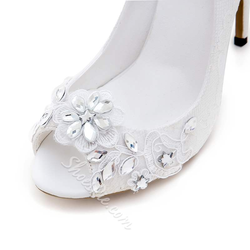 Shoespie Stylish White Slip-On Peep Toe Stiletto Heel Bridal Shoes