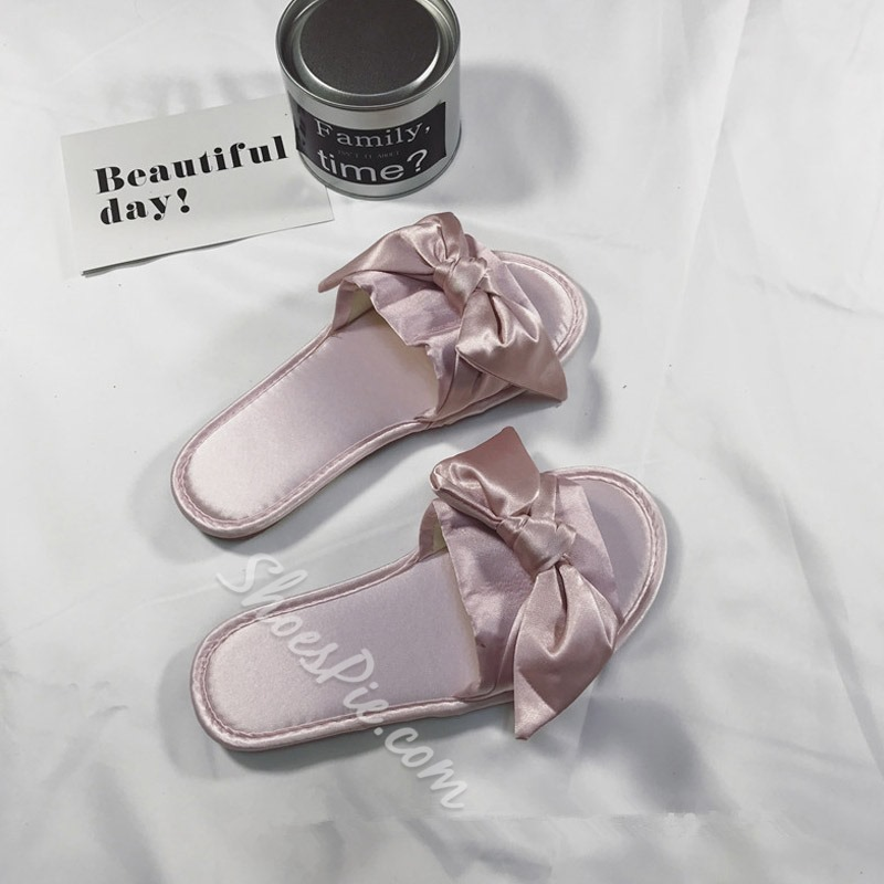 Shoespie Bowknot Cute Silk Fabric Slippers