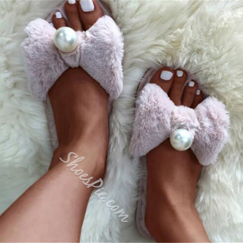 Shoespie Sexy Bowknot Beads Flat With Flip Flop Slippers