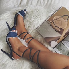 Shoespie Denim Strappy Lace-Up Stiletto Heel Sandals