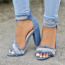 Shoespie Denim Block Zipper Sandals