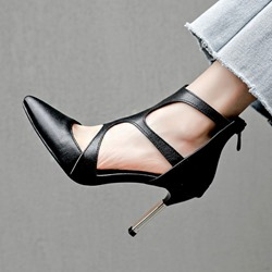 shoespie Hollow Black Zipper High Heels
