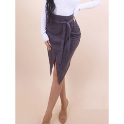 Asymmetrical Lace-Up Plain Casual Women's Skirt