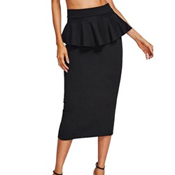 Stringy Selvedge Bodycon Plain Casual Women's Skirt