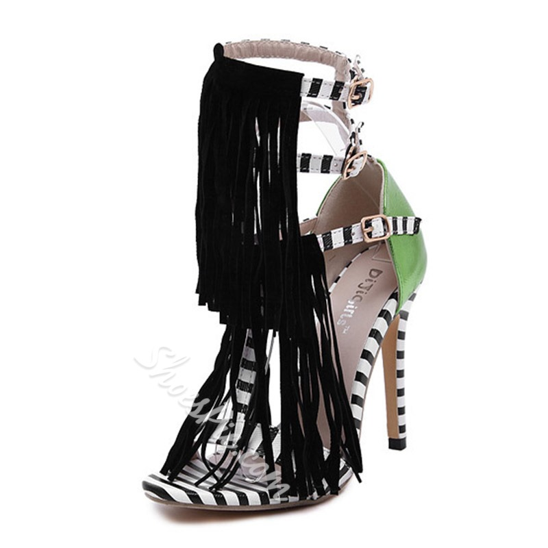 Shoespie Tassel Stiletto Heel Buckle Stripe Sandals
