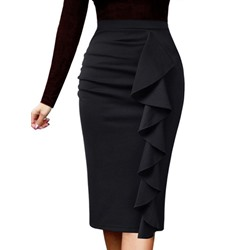 Plain Stringy Selvedge Bodycon High Waist Women's Skirt