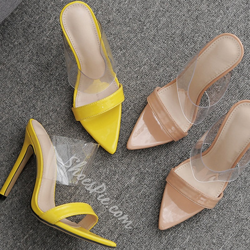 Shoespie Stiletto Heel Clear Summer Mules