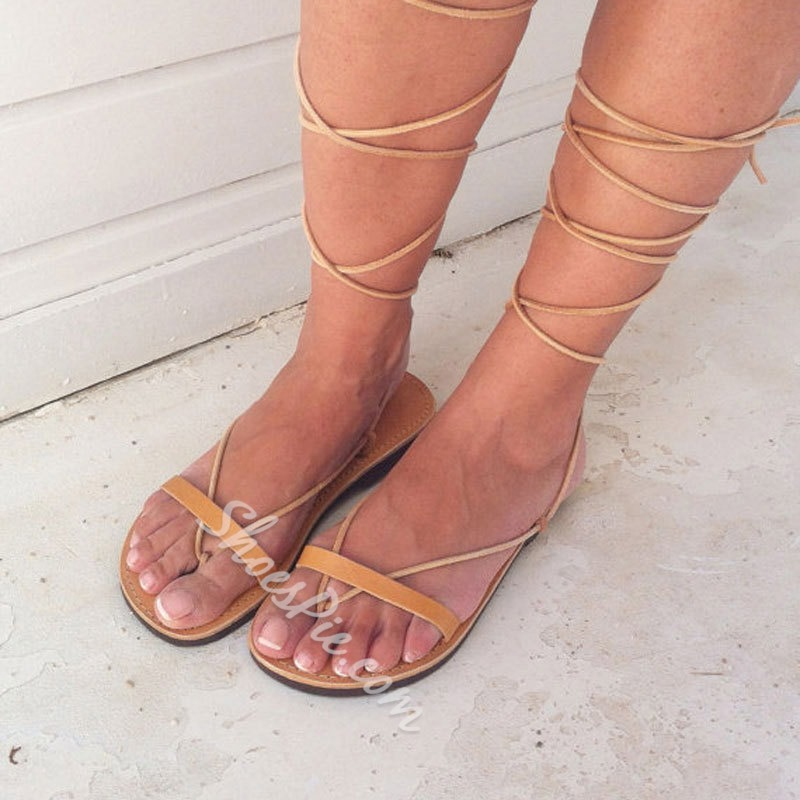 Shoespie Stylish Yellow Thong Lace-Up Plain Sandals