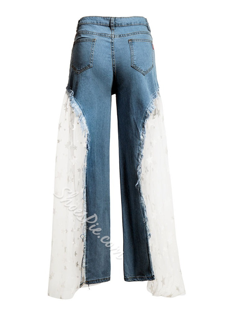 Star Wide Legs Patchwork Loose Women's Jeans