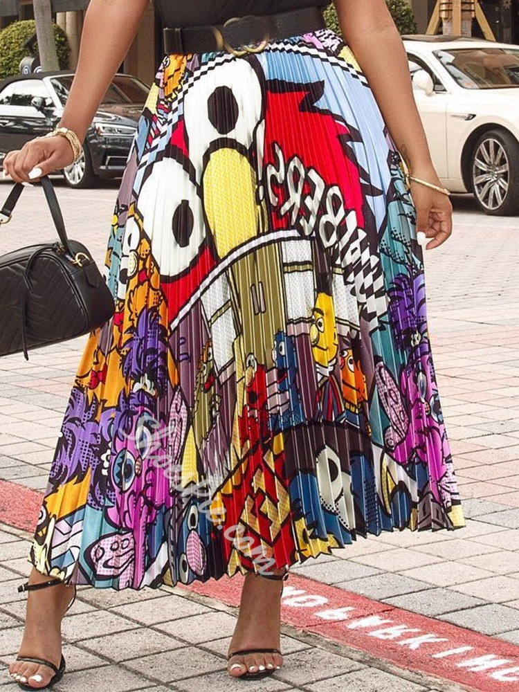 Cartoon Mid-Calf Print Mid Waist Women's Skirt