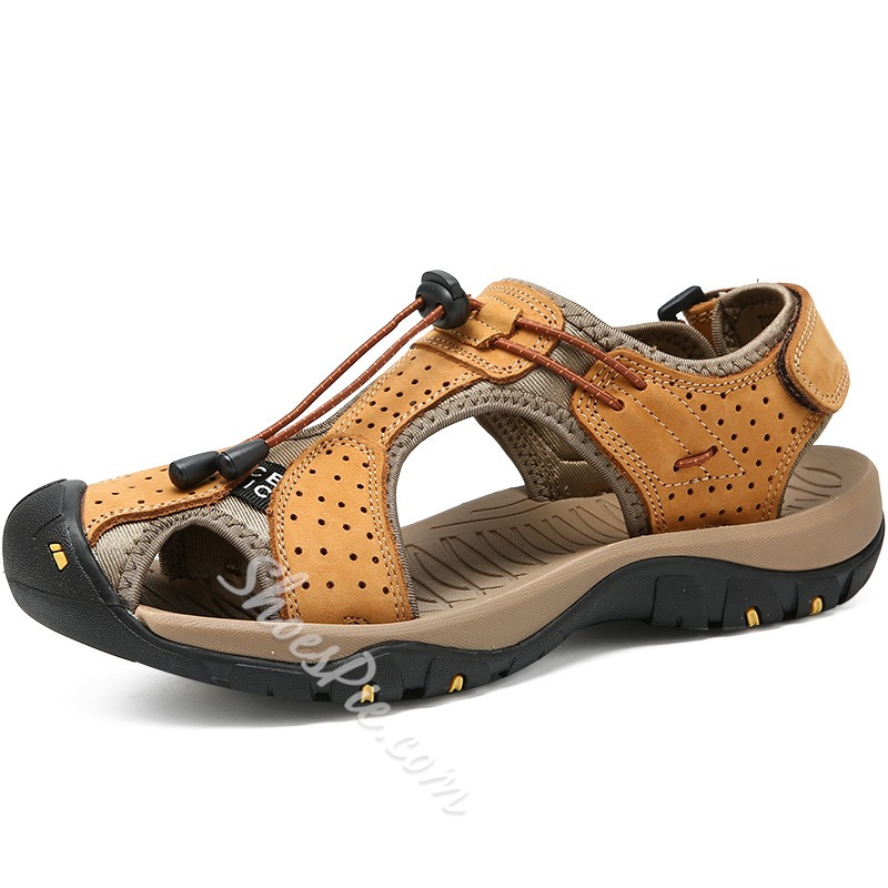 Shoespie Leather Hook Loop Beach Men's Sandals