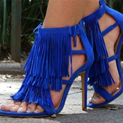 Shoespie Zipper Tassel High Heel Sandals
