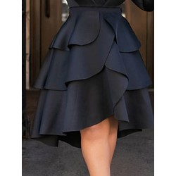 Plain Knee-Length Asymmetric High Waist Women's Skirt