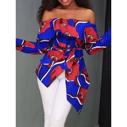 Off Shoulder Asymmetric Color Block Long Sleeve Women's Blouse