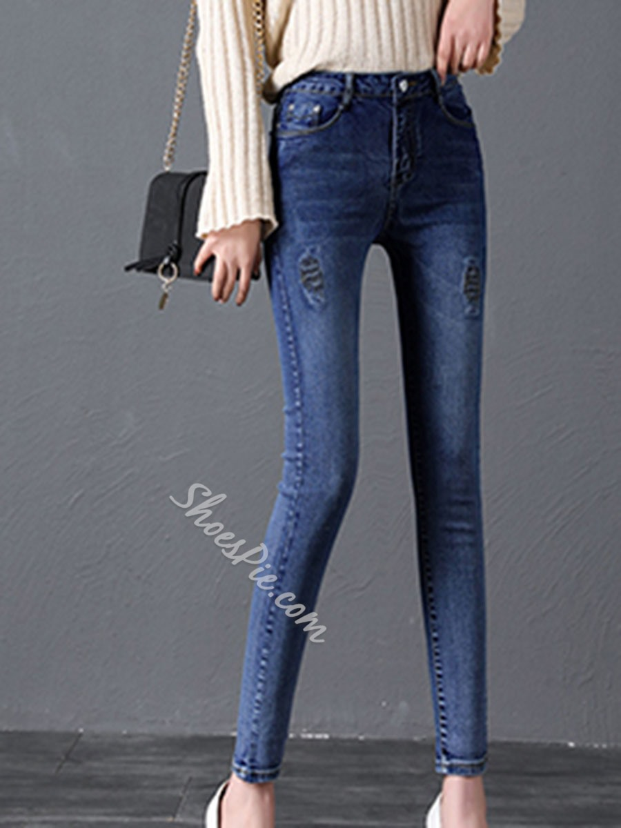 Pencil Pants Plain Slim Women's Jeans