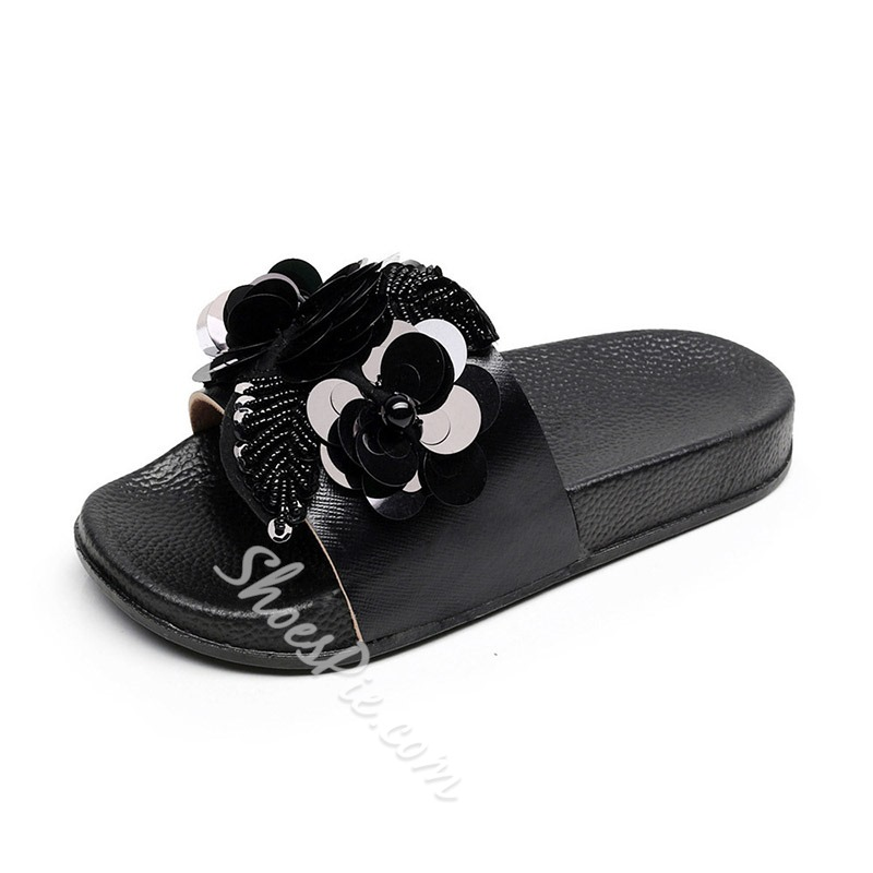 Shoespie Sexy Sequin Slip-On Flat Flip Flop Slippers