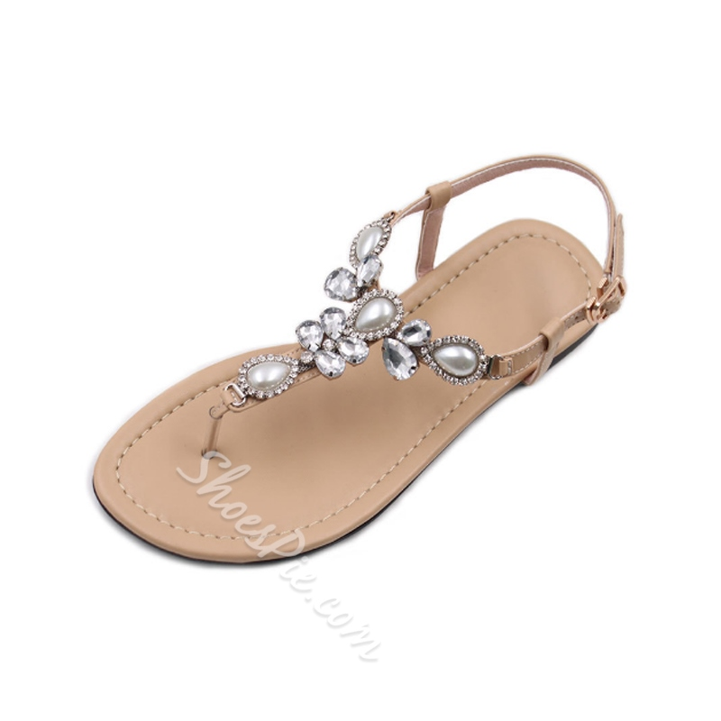 Shoespie Rhinestone Flat Thong Buckle Casual Sandals