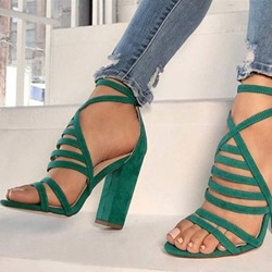 Shoespie Chunky Heel Buckle Green Sandals