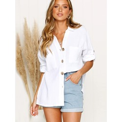Plain Button Regular Mid-Length Women's Blouse