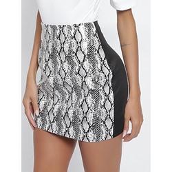 Serpentine Mini Skirt Patchwork Sexy Women's Skirt