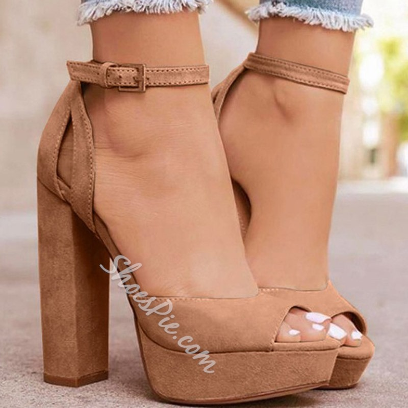 Shoespie Buckle Peep Toe Chunky Heel Platform Sandals