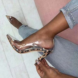 Shoespie Leopard Clear Stiletto Heels