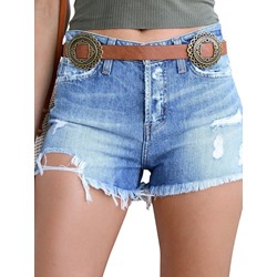 Denim Hole Plain Mid Waist Women's Shorts