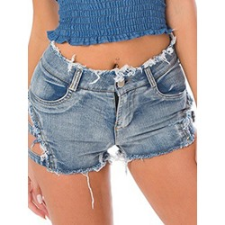 Sexy Plain Hole Slim Women's Shorts