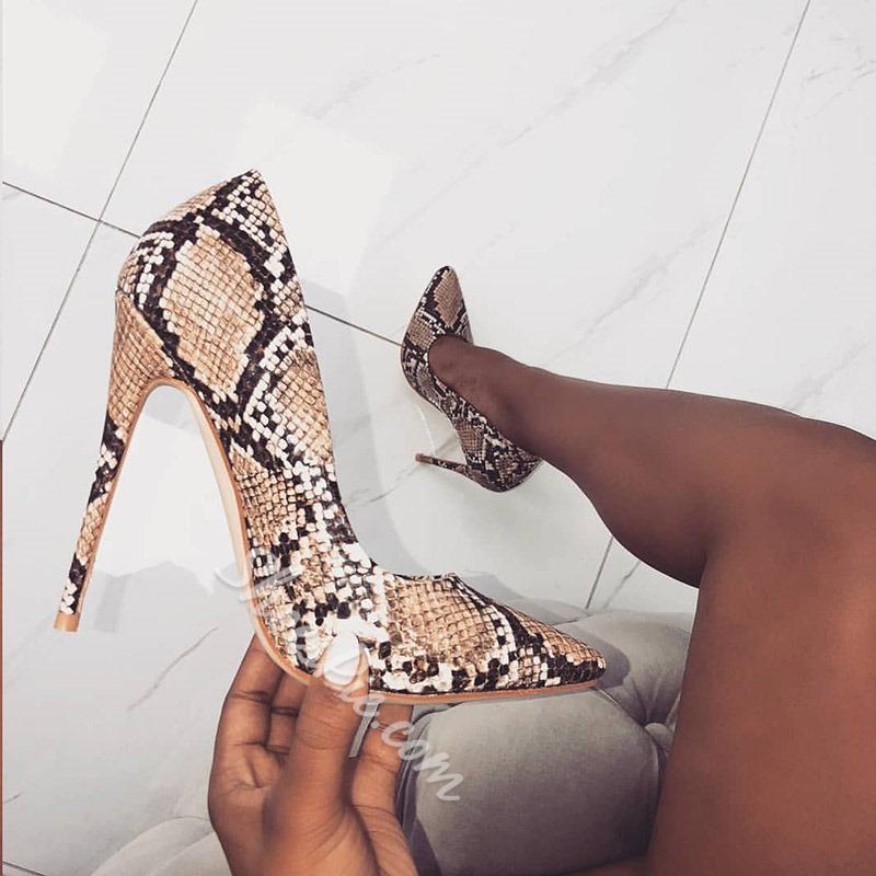 Shoespie Stylish Serpentine Slip-On Pointed Toe Stiletto Heels