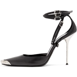 Shoespie Black Solid Buckle Strap Stiletto Heel Pumps