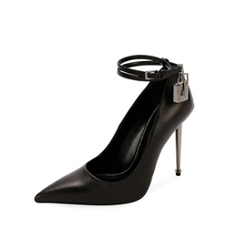 Shoespie Black Solid Buckle Strap Stiletto Heels