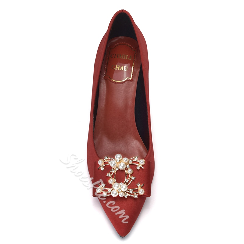 Shoespie Beaded Pointed Toe Shoes