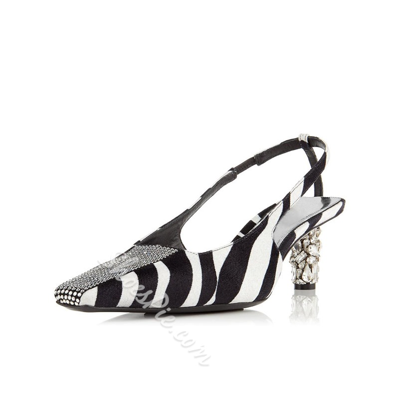 Shoespie Buckle Slingback Strap Square Toe Zebra Low Heels