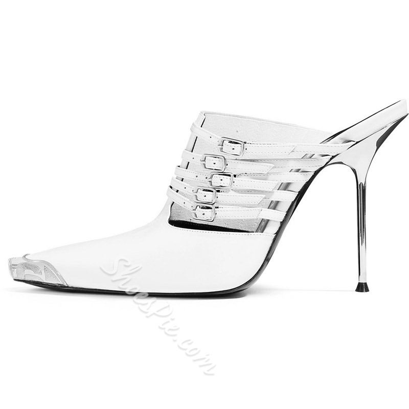 Shoespie Stiletto Heel Buckle Backless Pumps