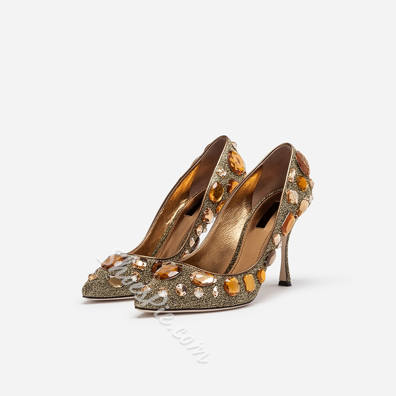 Shoespie Beads Stiletto Heel Prom Pumps