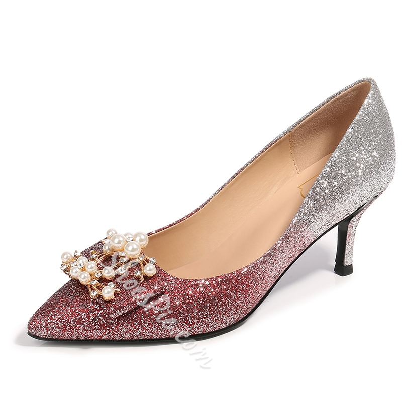 Shoespie Low Heel Rhinestone Shoes